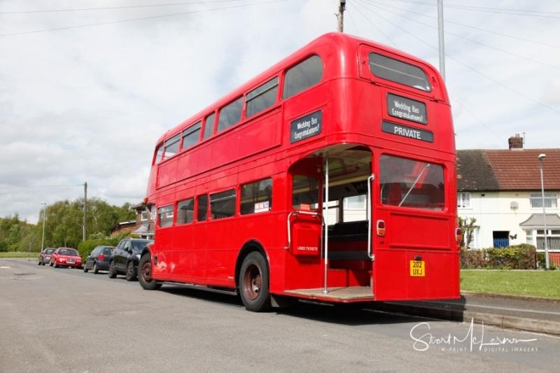 Double-decker wedding bus
