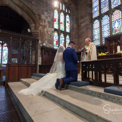 Wedding ceremony at St Mary's, Sandbach