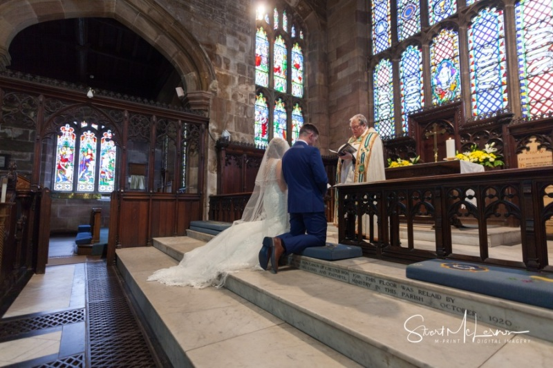 Wedding ceremony at St Mary's, Sandbach