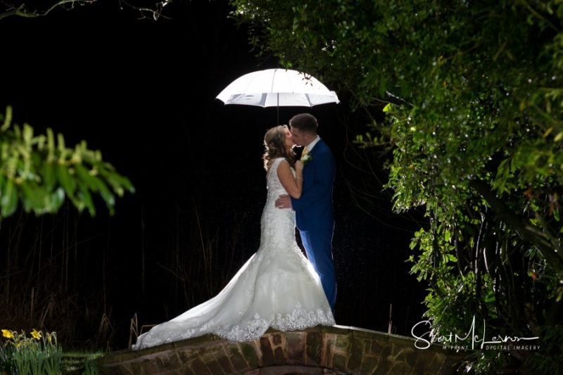 Umbrella shot in the rain at Cranage Hall