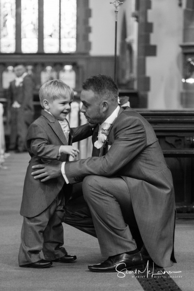 Embrace with son in church
