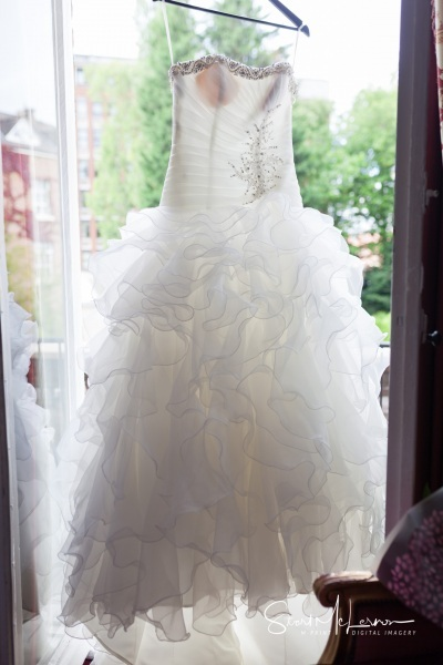 Bridal dress on hanger