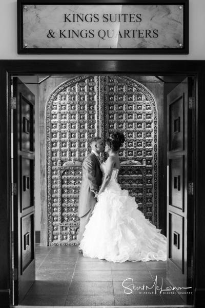 Posing in front of the doors