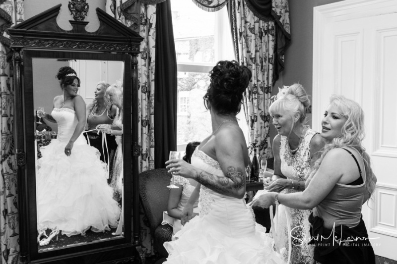 Fitting into the wedding dress