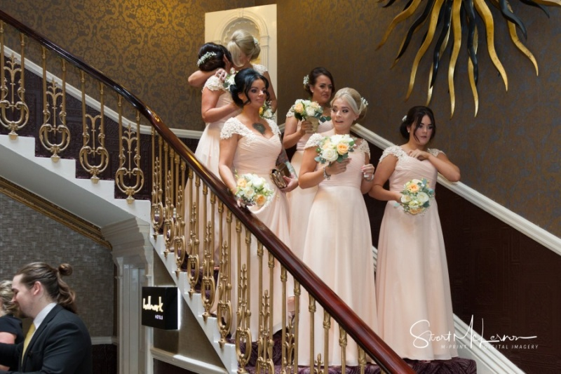 Bridesmaids on the stairs