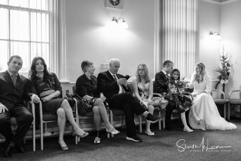 In the waiting room at Stockport Town Hall