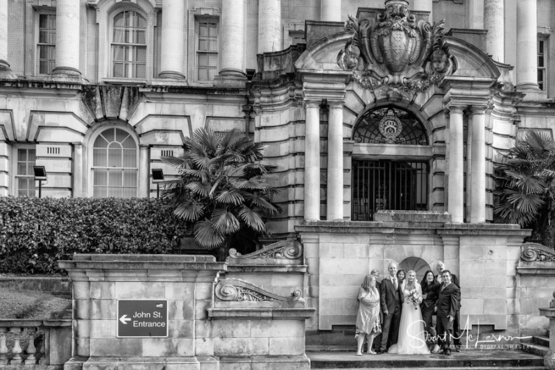 Wedding guests on the steps of Stockport Town Hall