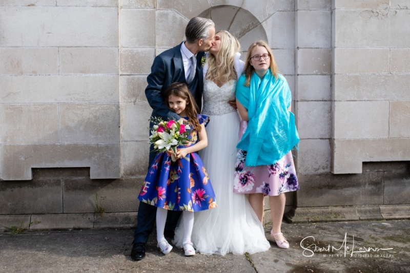 Bride and Groom with their Children, Stockport Town Hall