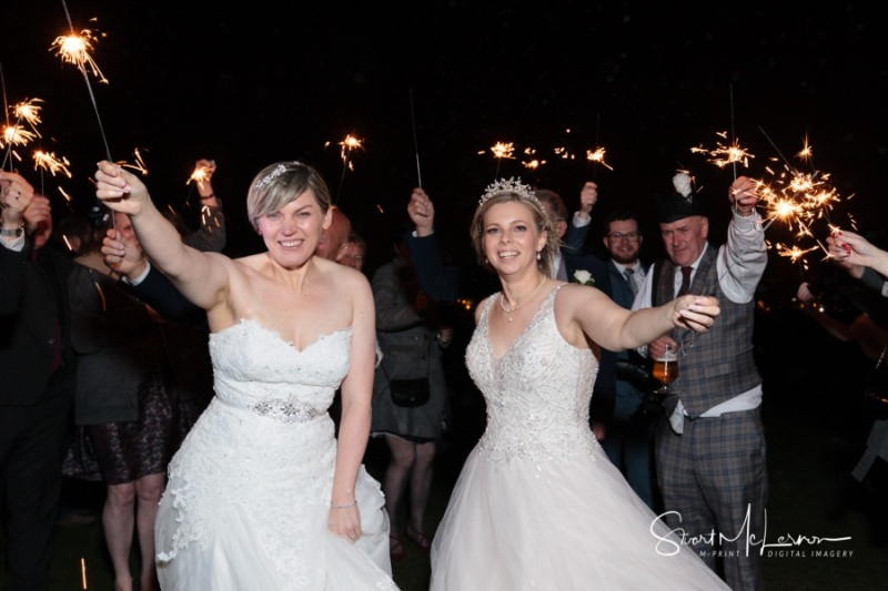Waving sparklers at The Forest Hills Hotel, Frodsham