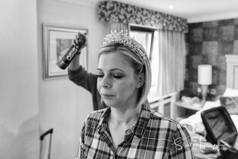 Tiara in place, spray at the ready