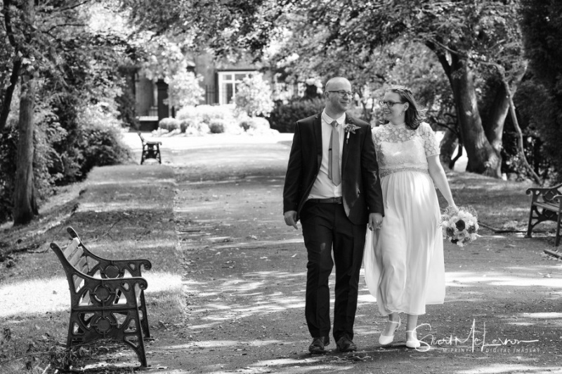 Bride and Groom alone in Dukinfield Park