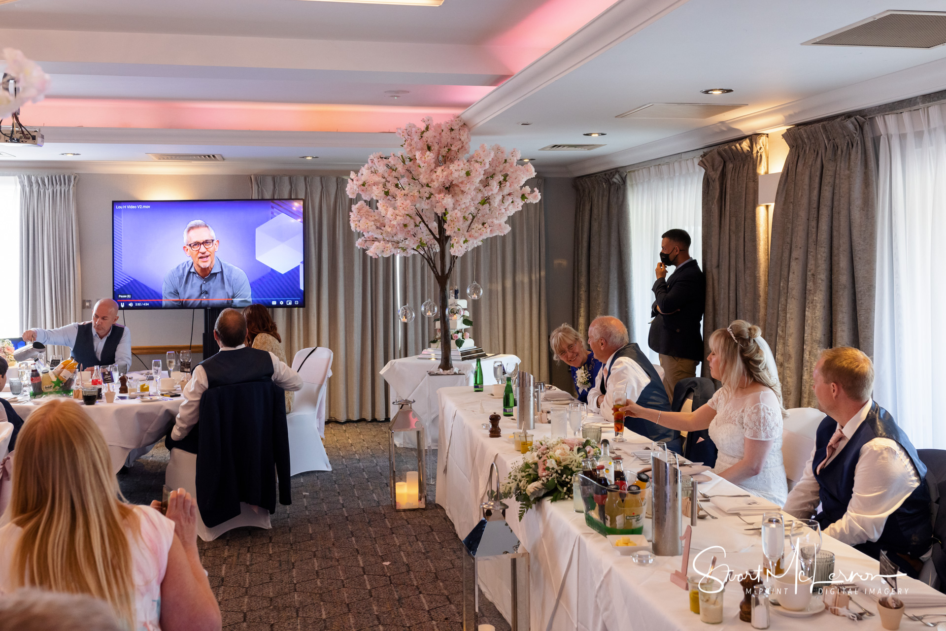 Gary Lineker's pre-recorded video message at the Wedding Breakfast